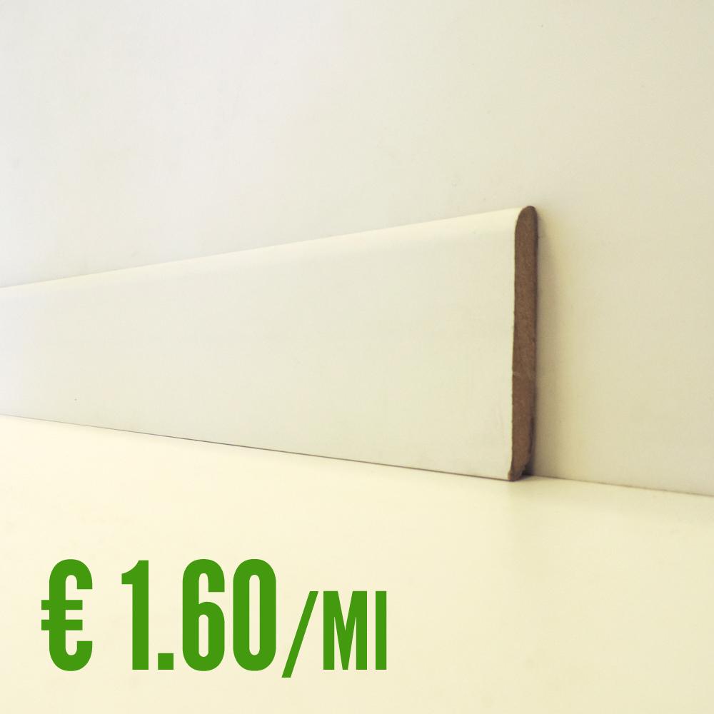 Battiscopa bianco mdf liscio 10 x 70 mm asta 2 40 metri - Piastrelle 10 x 10 ...