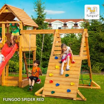 Altalena Fungoo Spider Red in legno di Abete 260 x 255 x h 220 cm - Accessorio Parco Giochi
