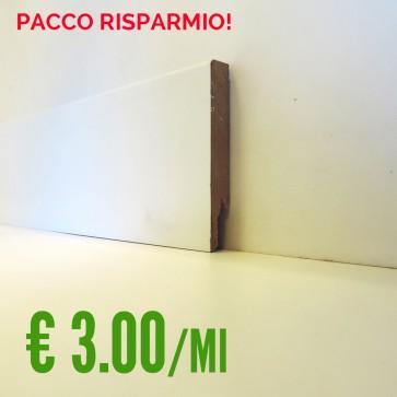 BATTISCOPA BIANCO MDF  liscio 14 x 100 mm. asta 2,40 metri - PACCO RISPARMIO 5 PEZZI