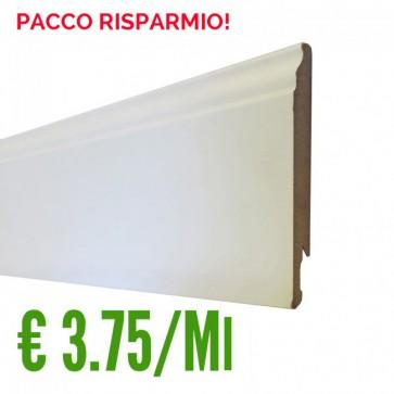 BATTISCOPA BIANCO MDF sagomato Ducale 14 x 120 mm. asta 2,40 metri - PACCO RISPARMIO 5 PEZZI