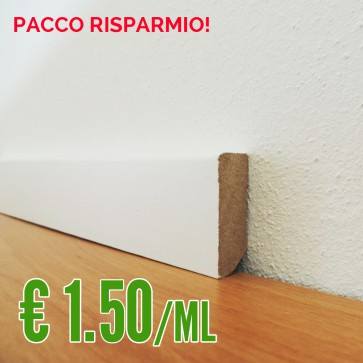BATTISCOPA BIANCO MDF liscio 14 x 40 mm. asta 2,40 metri - PACCO RISPARMIO 10 PEZZI!