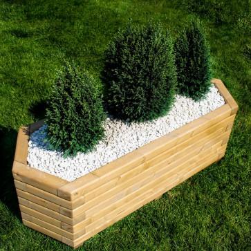 FIORIERA ESAGONALE LUNGA in legno di pino oliato - 3 Dimensioni