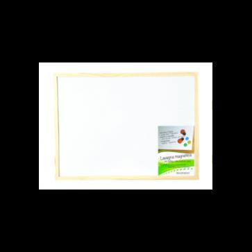 Lavagna magnetica bianca cornice legno naturale cm. 60 x 90