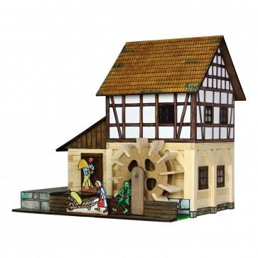 GIOCO COSTRUZIONE per bambini in legno Mulino ad acqua a graticcio - 172 Pezzi