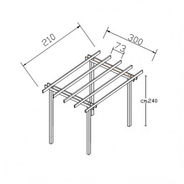 Pergola BASIC indipendente 210x300 legno durata 15 anni