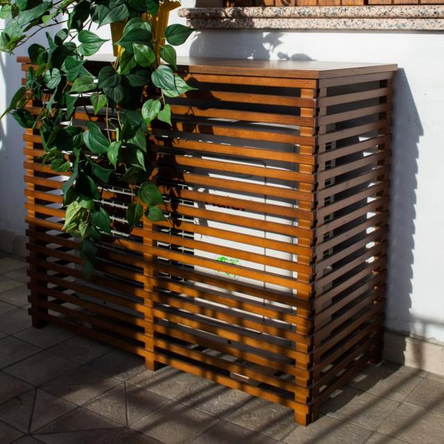 Copri condizionatore in legno noce 1050x505 mm onlywood - Mobili in legno da esterno ...