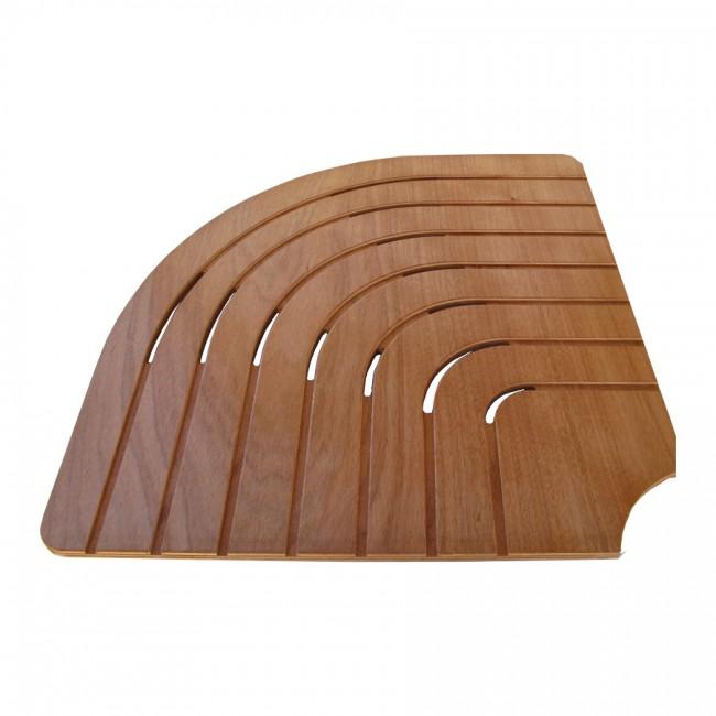 Pedana doccia angolare legno marino okumé lato cm 74 per piatti lato 90 cm - Onlywood