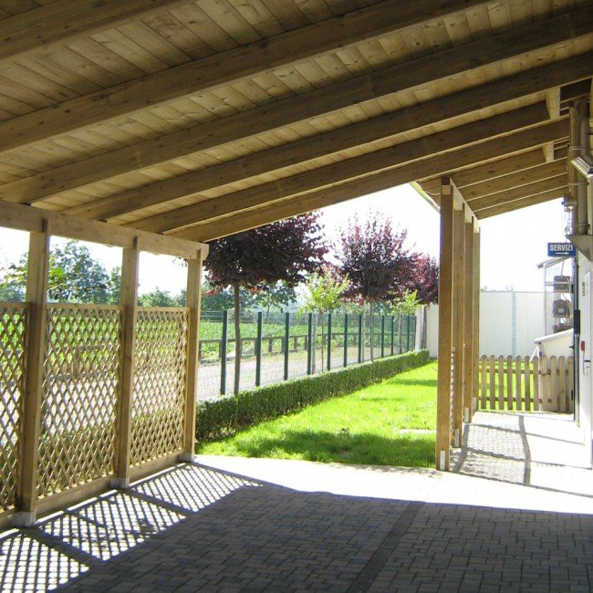 Pergola strong addossata 6x5 portata 130 kg mq legno for Pergola bioclimatica prezzo mq