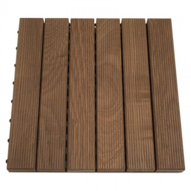 Pavimento frassino zigrinato da esterno quadrotta 30 x 30 x 3 cm autoposante onlywood - Mattonelle legno per esterno ...