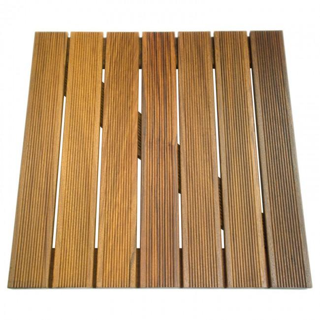 Pavimento ipe 39 zigrinato da esterno quadrotta 50 x 50 x 3 cm onlywood - Mattonelle legno per esterno ...