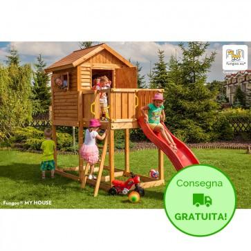 Parco giochi con Casetta e scivolo Fungoo My HOUSE in legno di Abete 440 x 163 x h 284 cm