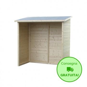 Legnaia da esterno in legno AVEAL 182 x 91 x 183 h. cm
