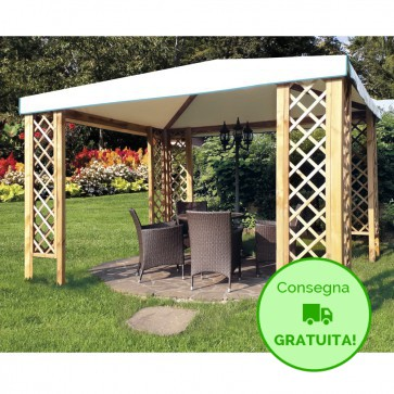 Gazebo CLASSICO legno autoclavato 364 x 364 cm -Telo PVC + 8 grigliati