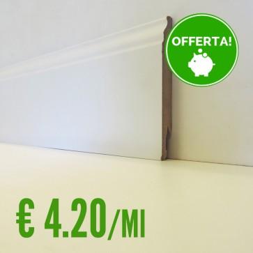 BATTISCOPA BIANCO MDF sagomato Ducale 14 x 120 mm. asta 2,40 metri