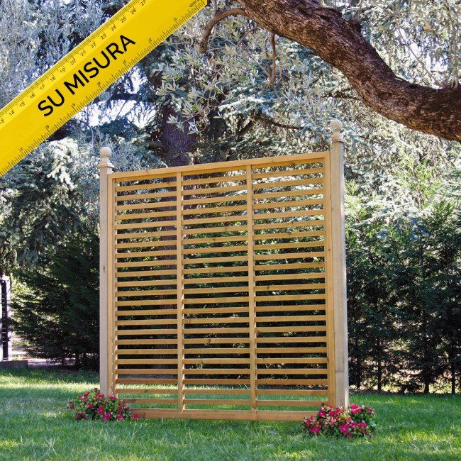 Pannello frangivista su misura in legno a listelli onlywood for Obi pannelli legno