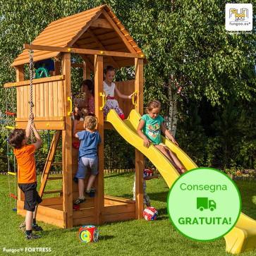 Torre Parco Giochi con Casetta e Scivolo Fungoo Fortress in legno di Abete 460 x 200 x h 310 cm