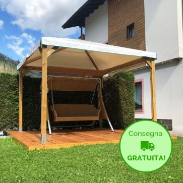 Gazebo CLASSICO legno autoclavato 304 x 304 cm -Con Telo PVC