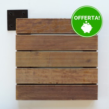 Pavimento legno IPE' AD INCASTRO - Piastrella Zigrinata 30 x 30 x 3 cm