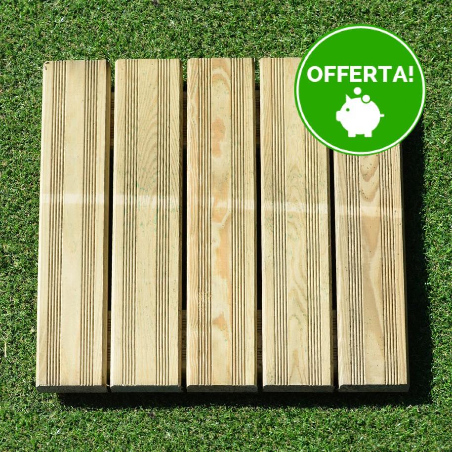 Mattonella zigrinata 50x50 Pino Impregnato - Pavimento da esterno - Spessore 3,8 cm Extra Resistenza