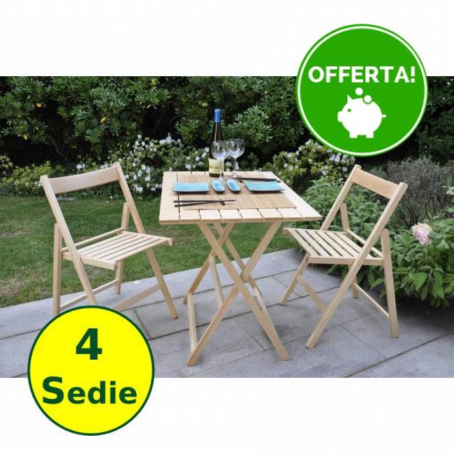 Set Tavolo E Sedie Da Giardino In Legno Naturale Di Faggio 4 Sedie Onlywood