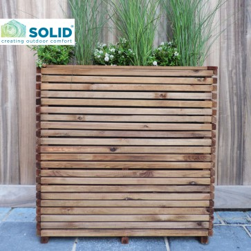 Fioriera BARCELONA legno 79 x 20 altezza 78 cm con rivestimento - Verniciata NOCE