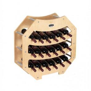 """Cantinetta in legno acero in kit """"Ottagono"""" - 18 bottiglie"""