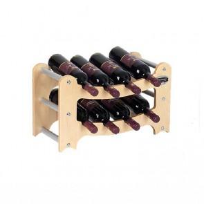 """Cantinetta in legno acero in kit """"Gradino"""" - componibile - 8 bottiglie"""