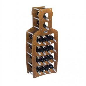 """Cantinetta in legno noce in kit """"Bottiglia"""" - 18 bottiglie"""