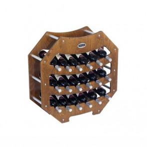 """Cantinetta in legno noce in kit """"Ottagono"""" - 18 bottiglie"""