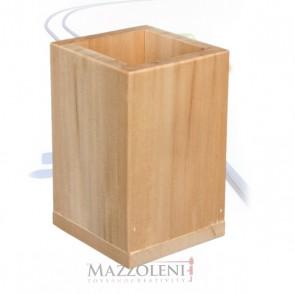 Porta penne quadrato legno cm. 8 x 8 x 12