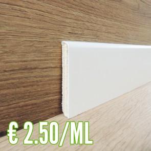 24 ML BATTISCOPA IN LEGNO impiallacciato tanganica Bianco Laccato 10x70 - CONFEZIONE RISPARMIO