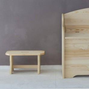 Sgabello in legno di pino non verniciato - 39x19x21 cm