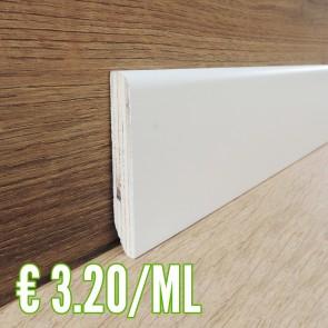 24 ML BATTISCOPA IN LEGNO impiallacciato tanganica Bianco Laccato 13x80 - CONFEZIONE RISPARMIO