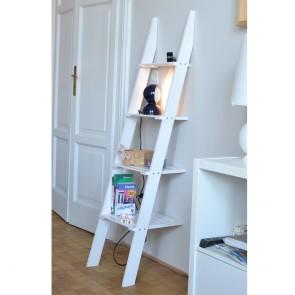 Scaffale- scaletta in legno di Larice color Bianco 39x156 h. cm