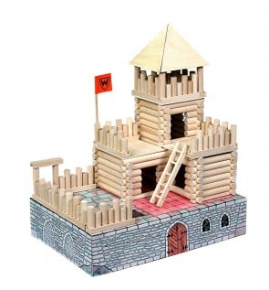 GIOCO COSTRUZIONE  per bambini in legno CASE FORT - 194 Pezzi
