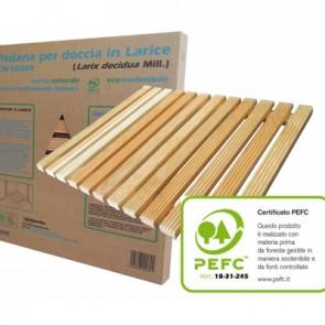 Pedana larice ecosostenibile certificata 55x69 per piatti doccia 70x90 cm