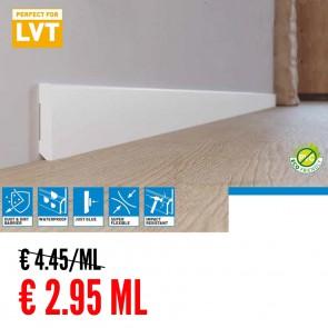 Battiscopa 100% IMPERMEABILE Bianco PVC 80 x 10 mm