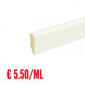 24 ML Battiscopa LISCIO STONDATO legno BIANCO RAL9010 - 58 x 18 mm - Asta 240 cm con Passafilo - CONFEZIONE RISPARMIO