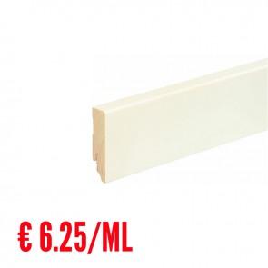 24 ML Battiscopa LISCIO legno BIANCO RAL9010 - 70 x 18 mm - Asta 240 cm con Passafilo - CONFEZIONE RISPARMIO