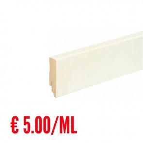 24 ML Battiscopa LISCIO legno BIANCO RAL9016 - 70 x 18 mm - Asta 240 cm con Passafilo - CONFEZIONE RISPARMIO