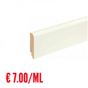 24 ML Battiscopa LISCIO STONDATO legno BIANCO RAL9016 - 80 x 18 mm - Asta 240 cm con Passafilo - CONFEZIONE RISPARMIO