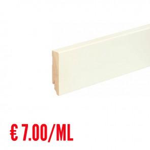 24 ML Battiscopa LISCIO legno BIANCO RAL9010 - 80 x 18 mm - Asta 240 cm con Passafilo - CONFEZIONE RISPARMIO