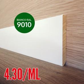 Battiscopa Legno Massello BIANCO RAL 9010 Liscio Dritto - 80 x 10 mm - Confezione 5 ML