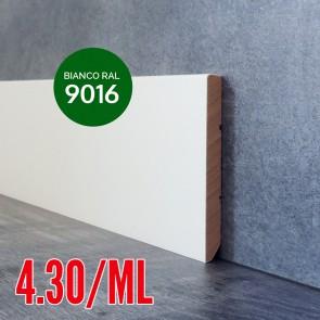 Battiscopa Legno Massello BIANCO RAL 9016 Liscio Dritto - 80 x 10 mm - Confezione 5 ML