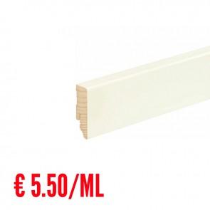24 ML Battiscopa LISCIO legno BIANCO RAL9010 - 58 x 18 mm - Asta 240 cm con Passafilo - CONFEZIONE RISPARMIO