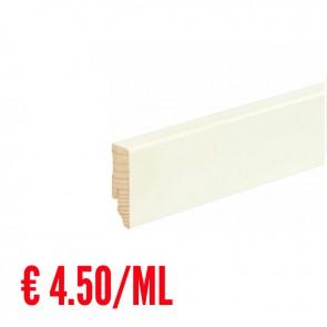 24 ML Battiscopa LISCIO legno BIANCO RAL9016 - 58 x 18 mm - Asta 240 cm con Passafilo - CONFEZIONE RISPARMIO