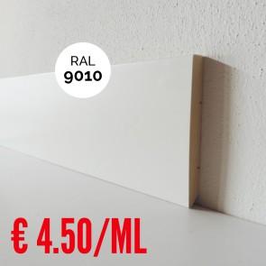 Battiscopa Legno Massello BIANCO RAL 9010 Liscio Dritto - 100 x 10 mm - Confezione 5 ML