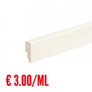 24 ML Battiscopa LISCIO legno BIANCO RAL9016 - 40 x 16 mm - Asta 240 cm con Passafilo - CONFEZIONE RISPARMIO
