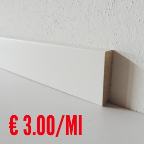 Battiscopa legno BIANCO mod Liscio - 50 x 13 mm - Asta 250 cm