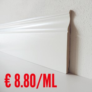 Battiscopa legno BIANCO mod Luxor - 140 x 13 mm - Asta 250 cm